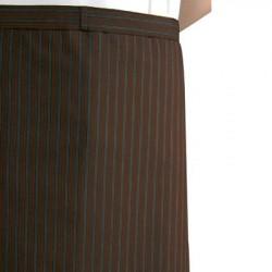 Kokke/tjener forklæde, langt brunt med striber. Chaud Devant