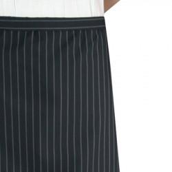 Kokke/tjener forklæde, langt sort m. grå striber. Chaud Devant