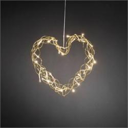 Konstsmide hjerte med LED lys - Guldfarvet