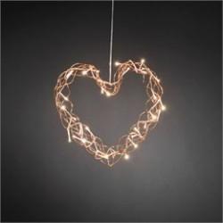 Konstsmide hjerte med LED lys - Kobberfarvet