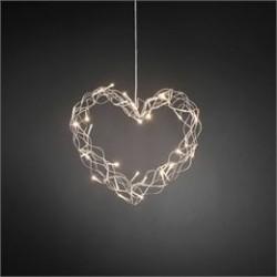 Konstsmide hjerte med LED lys - Sølvfarvet