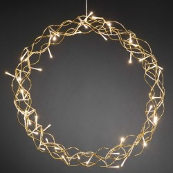Konstsmide krans med LED-lys - Ø 45 cm - Guldfarvet