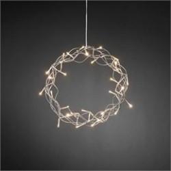 Konstsmide krans med LED lys - Sølvfarvet
