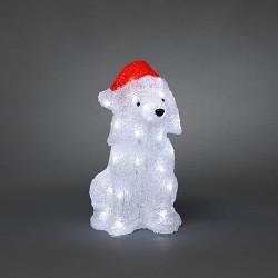 Konstsmide LED-hund med nissehue