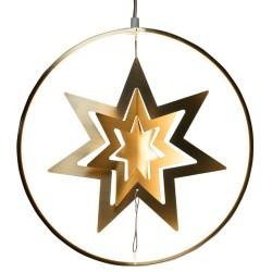 Konstsmide ring med LED-lys og stjerne - Halley - Guldfarvet