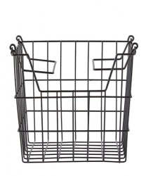 Kurv - m. hank - Metal - Sort - H 19,5cm - L 24,0cm - B 19,5cm - Stk.