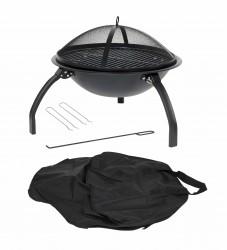 LA HACIENDA Camping bålfad m. grill - sort stål, rund (Ø54)