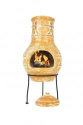 LA HACIENDA Compañero Small Mexico ovn - brændt orange ler og stål, håndlavet, rund (Ø30)