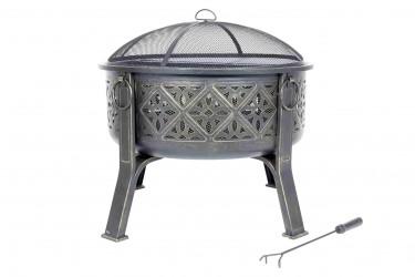 LA HACIENDA Moresque bålfad m. grill - bronzefinish stål, rund (Ø76)