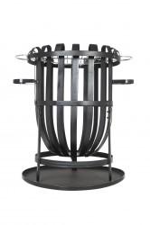 LA HACIENDA Vancouver bålkurv m. grill - sort stål, rund (Ø50)