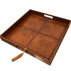 Læder bakke kvadratisk - brun skind