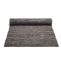Læder gulv løber - mørk brun 60x90 cm