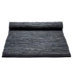 Læder tæppe i sort 60x90 cm