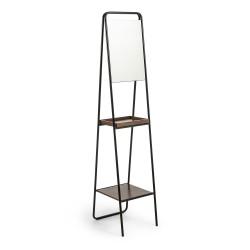 LAFORMA Benji gulvspejl - sort/brun/glas - metal/valnøddefinér/spejlglas, m. 2 hylder