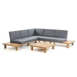 LAFORMA Burlington havesofa inkl. havebord - massivt akacietræ og mørkegråt stof, m. lille bord