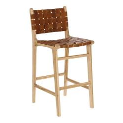 LAFORMA Calixta barstol, m. ryglæn og fodstøtte - brunt håndflettet læder og massivt natur teaktræ