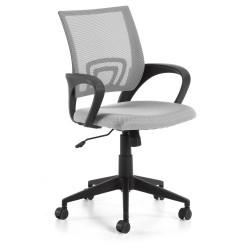 LAFORMA Ebor kontorstol, m. armlæn og hjul - grå stof og sort plastik/stål