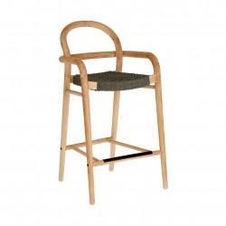 LAFORMA Green Sheryl barstol til haven, m. armlæn og ryglæn - grøn reb og natur eukalyptustræ (69cm)