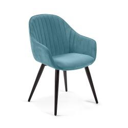 LAFORMA Herbert spisebordsstol m. armlæn - turkis fløjl og metal