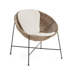 LAFORMA Kathryn loungestol, m. beige hynde - natur rattan og mat sort metal