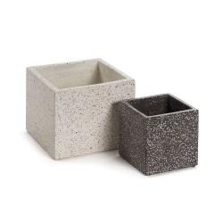 LAFORMA kvadratisk potte - hvid og grå terrazzo (sæt á 2)