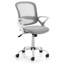 LAFORMA Lambert kontorstol, m. armlæn og hjul - grå stof og hvid plastik/stål