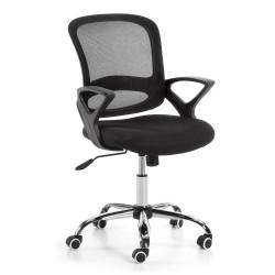 LAFORMA Lambert kontorstol, m. armlæn og hjul - sort stof og plastik samt krom stål