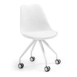 LAFORMA Lars kontorstol - hvid plastik, kunstlæder og stål