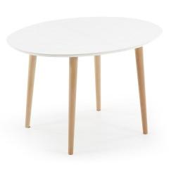 LAFORMA Oakland spisebord - mat hvidt træ m. natur ben, ovalt, m. udtræk (120/200x90)
