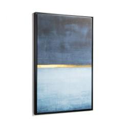 LAFORMA rektangulær Wrigley blue billede - multifarvet papir og træ (90x60)