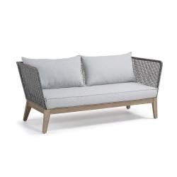 LAFORMA Relax sofa - mørkegråt reb, mørkt eucalyptus træ og lysegråt stof, 3 pers.
