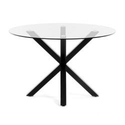 LAFORMA rund Arya spisebord - klar glas og sort stål (Ø119)
