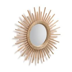 LAFORMA rundt Natur Marelli vægspejl - spejlglas og natur rattan, håndlavet (Ø60)