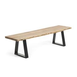 LAFORMA Sono bænk - natur/sort akacietræ/metal, rektangulær (178x45)