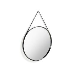 LAFORMA stor rund Eertrin vægspejl - spejlglas, sort ramme og læder (Ø80)