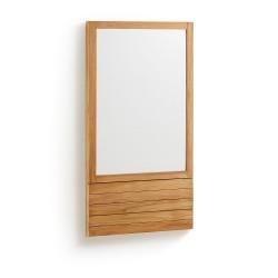 LAFORMA Sunday vægspejl - spejlglas m. teaktræ ramme (110x60)
