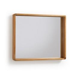 LAFORMA Sunday vægspejl - spejlglas m. teaktræ ramme (80x65)