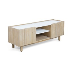 LAFORMA Tropea TV-bord - lyst akacietræ og hvidt træ, m. 2 hylder og 2 låger