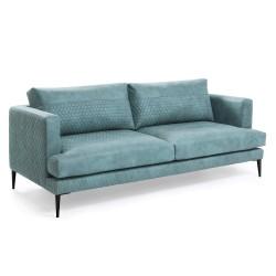LAFORMA Vinny sofa - grønt quiltet stof og sort metal, 3 pers.