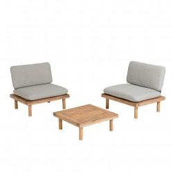 LAFORMA Viridis loungesæt m. 2 havestole og 1 havebord, m. stofhynder - natur akacietræ og aluminium