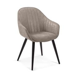 LAFORMAC Herbert spisebordsstol m. armlæn - taupe stof og metal
