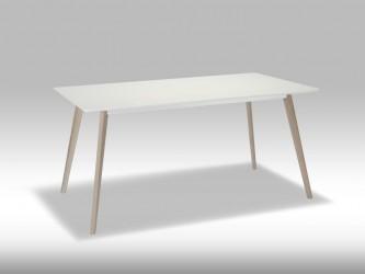 Life spisebord - mat hvid træ m. egetræsben, 90 x 160 cm
