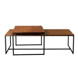 Living&more sofaborde - Dagmar - Valnød/sort stål