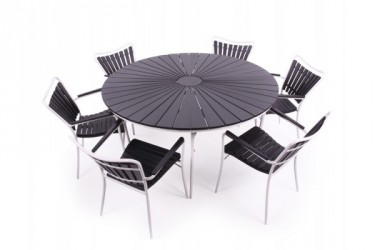 Løkken 150 cm. Havemøbelsæt med 6 stole