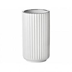 Lyngby Vase Hvid, Sølv 20 cm
