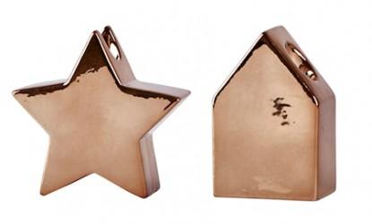 Lysestage - Usorteret - Keramik - Bronze - H 11,8cm - L 7,8cm - B 4,5cm - Stk.