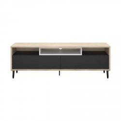 Match TV-bord - egestruktur/grå/hvid træ, m. 2 skuffer