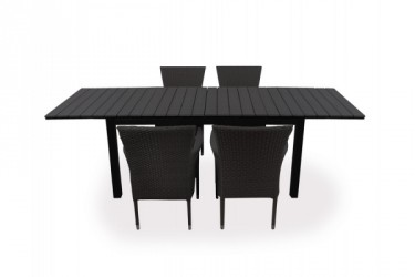 Miami Cebu Havemøbelsæt - 95x160/210/260 cm - Sort