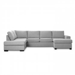 Milan venstrevendt U-sofa - lys granitgrå stof