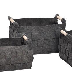 Mørk grå filt kurv - stor